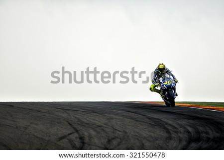 ARAGON, SPAIN - SEPTEMBER 27: Valentino Rossi at GP Movistar de Aragon of MotoGP at Motorland Aragon Circuit on September 27, 2015 in Aragon, Spain. - stock photo