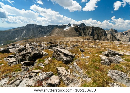 Arapaho Glacier Trail crosses the Continental Divide in the Colorado mountains - stock photo