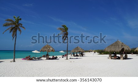 ARASHI, ARUBA - NOV 26: Arashi Beach in Aruba, as seen on Nov 26, 2015. Arashi is Blue Flag certified, part of a program to promote green behavior and increase eco-awareness on the island. - stock photo