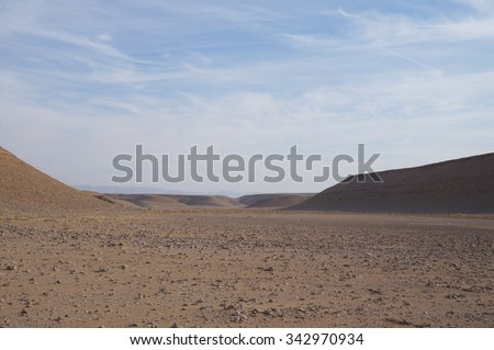 Arava desert, South Israel, evening twilight - stock photo