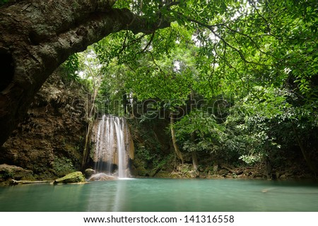 arawan waterfall in Kanchanaburi Thailand - stock photo