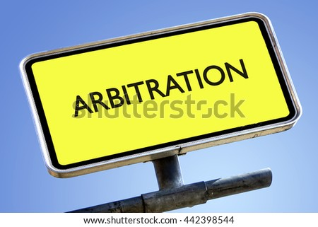 ARBITRATION word on roadsign with yellow background - stock photo