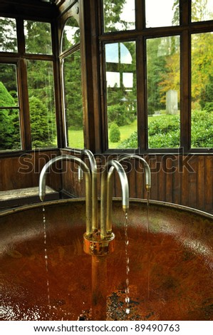 Arbour in park. Charles Fountain Spa, Czech Republic - stock photo