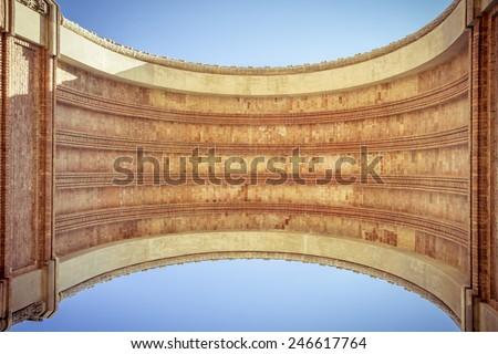 arc de triomf, barcelona, extreme worm's eye view - stock photo