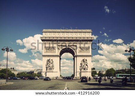 Arc de Triomphe against nice blue sky, Paris, France, Europe, Vintage filtered style - stock photo