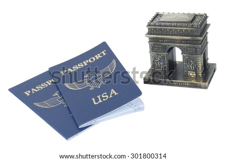 Arc de Triomphe and Passports - path included - stock photo