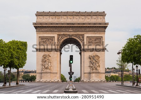 Arc de Triomphe (Arch of Triumph) in l'Etoile on Charles de Gaulle, Paris, France. - stock photo