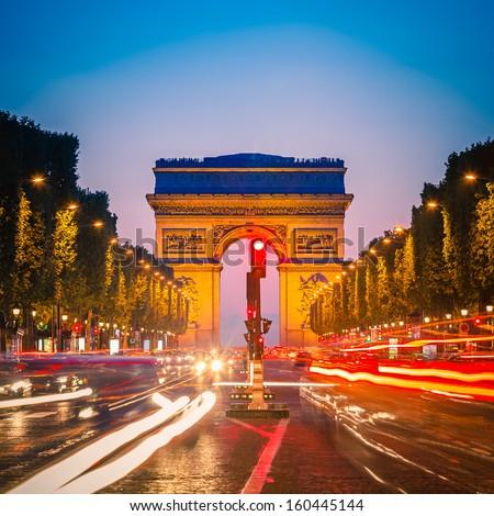 Arc de Triomphe at dusk, Paris - stock photo