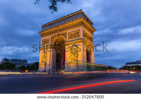 Arc de Triomphe at night in Paris,France