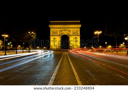 Arc de Triomphe at night, Paris, France - stock photo