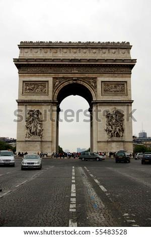 Arc de Triomphe de l'Etoile in Paris France - stock photo