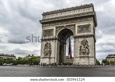 Arc de Triomphe de l'Etoile on Charles de Gaulle Place, Paris, France. Arc is one of the most famous monuments in Paris.