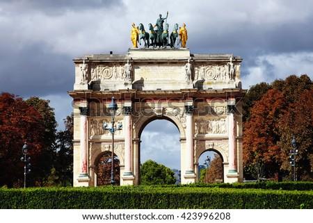 Arc de Triomphe du Carrousel at Place du Carrousel, Paris, France, Europe built between 1806-8 to celebrate Napoleon's victories - stock photo