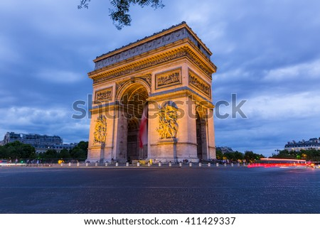 Arc de Triomphe in Paris,France