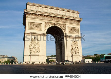 Arc de Triomphe in Paris, France - stock photo