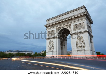 Arc de Triomphe in Paris in the evening, France - stock photo