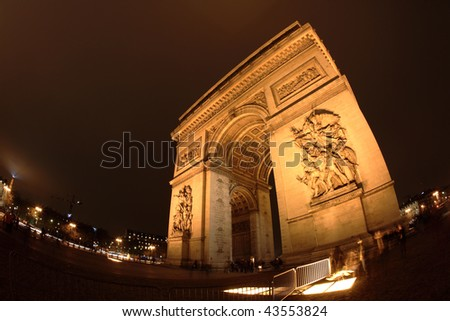 Arc de Triomphe, Paris, at night - stock photo
