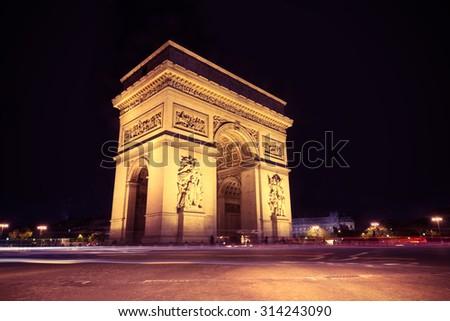 Arc de Triomphe Paris city  - Arch of Triumph. Instagram style filtred image - stock photo