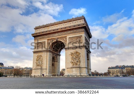 Arc de triomphe Paris city at day - stock photo