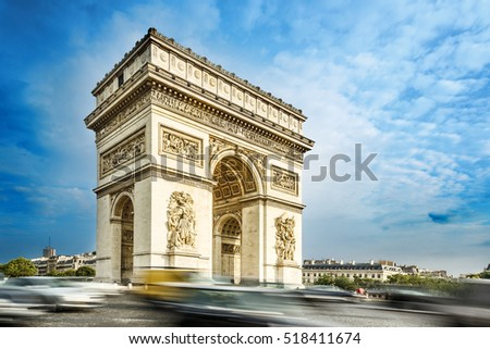 Arc de triomphe, Paris, France, at the blue sky background. One of rhe symbol landmark of Paris city.