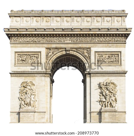Arc de Triomphe, Paris, France - Isolated on white background - stock photo