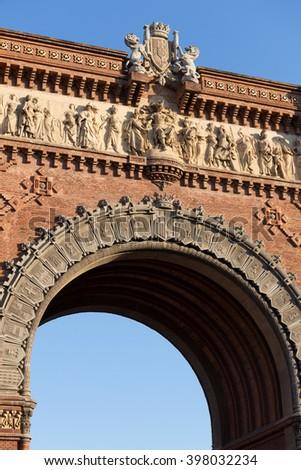 arc de triumf building barcelona spain - stock photo