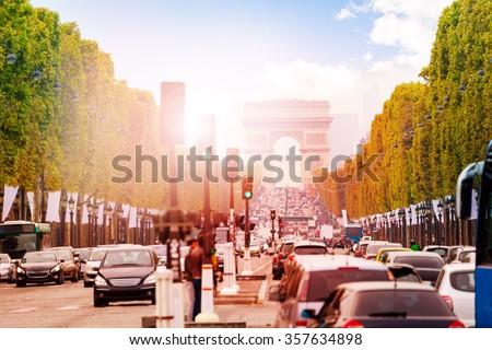 Arc de triumph at Paris - stock photo