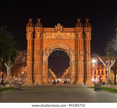 Arc de Triumph in night Barcelona, Spain - stock photo