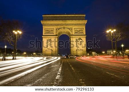 Arc de Triumph in the night, Paris, France - stock photo