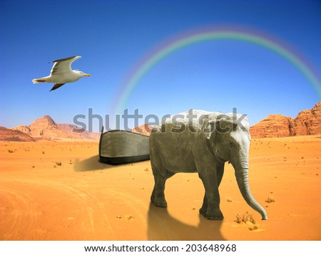 Arc of Noah with elephant and bird in desert with rainbow - stock photo