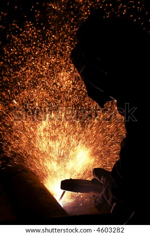 arc welder working - stock photo