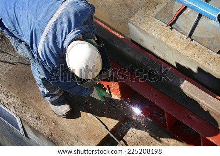 Arc welding steel profiles  - stock photo