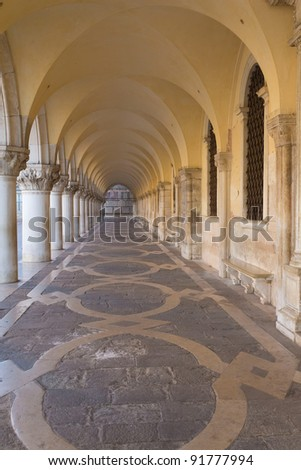 Arcade and vaults of  Ducal Palace in Venice (Italy)
