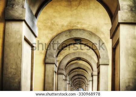 arcade in Florence in hdr, Italy - stock photo