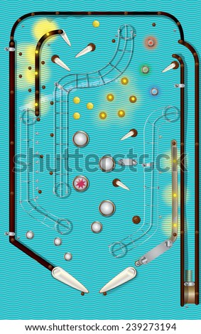 Arcade Pinball game, A classic or vintage style mechanical pinball game, Classic pinball arcade game with plain cyan color background. - stock photo