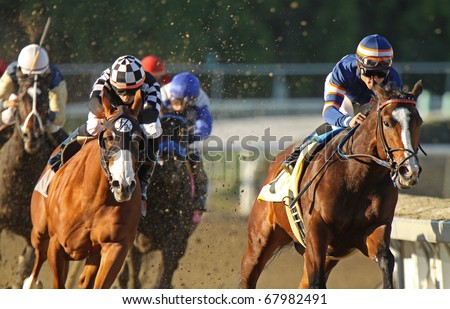 ARCADIA, CA - DEC 27: Joel Rosario and Lost Prophet (far right) lead the field around the far turn en route to winning a claiming race at Santa Anita Park on Dec 27, 2010 in Arcadia, CA.