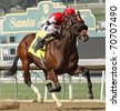 ARCADIA, CA - FEB 5: Champagne Topper (Edwin Maldonado up) breaks his maiden at Santa Anita Park on Feb 5, 2011 in Arcadia, CA. - stock photo