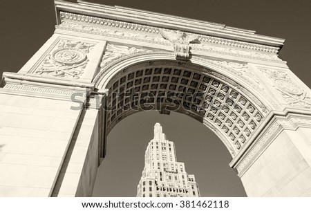 Arch and buildings of Washington Square Park, New York City. - stock photo