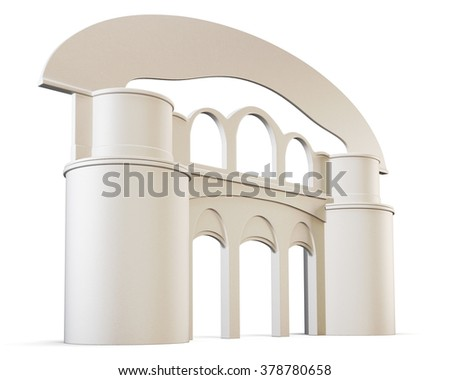 Arch and pillars isolated on white background. 3d render image. - stock photo