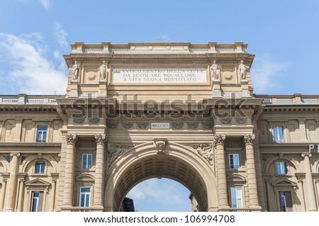 Arch at Piazza della Repubblica (Republic Square) a city square in Florence, Italy - stock photo