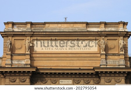 Arch at Piazza della Repubblica (Republic Square) in Florence, Italy - stock photo