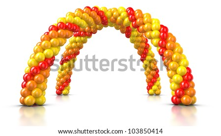 Arch Balloons rendered on White background. - stock photo