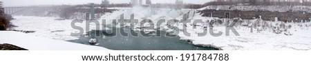 Arch bridge across a river, Horseshoe Falls, Niagara River, Niagara Falls, Ontario, Canada - stock photo