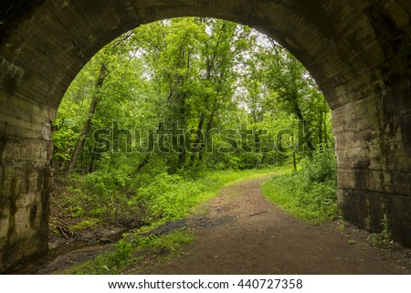 Arch Bridge Hiking Trail - stock photo