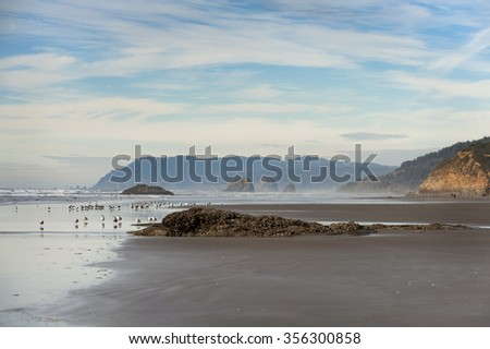 Arch Cape, Oregon. Sunset along the shoreline of Arch Cape, near Cannon Beach, with rock outcroppings and dramatic shorelines at low tide. - stock photo