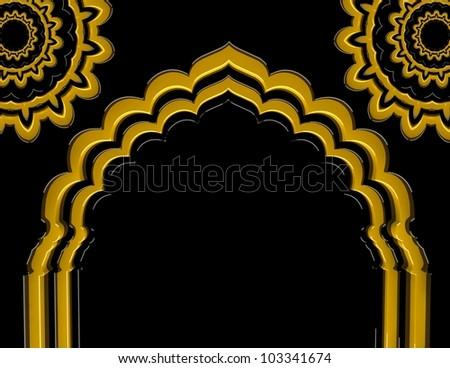 Arch Flower Golden - stock photo