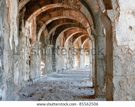 Arch gallery in ancient amphitheater - Aspendos, Turkey - stock photo