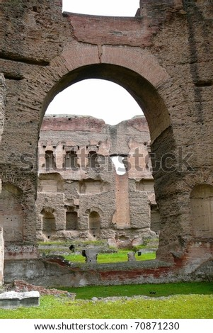 Arch in Caracalla Baths Rome, Italy - stock photo