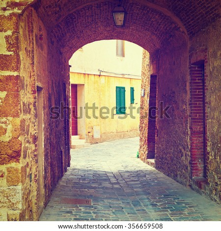 Arch in the Historical Center of Italian Medieval City, Instagram Effect