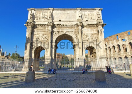 Arch of Constantine, a triumphal arch in Rome, located between the Colosseum and the Palatine Hill. - stock photo
